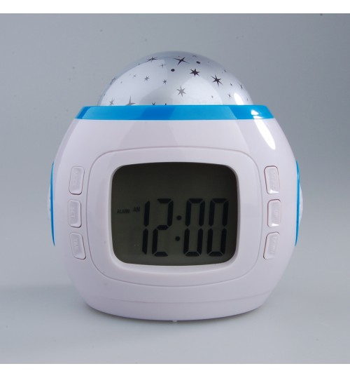 Music Starry Star Sky Projection Alarm Clock with Calendar and Thermometer