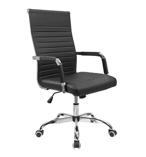 Ribbed Mid Back Leather Executive Swivel Black Office Chair With Knee-Tilt Control and Arms