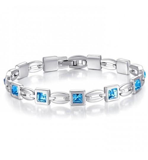 X000Q8X45P Austrian Crystal Tennis Bracelet- Blue