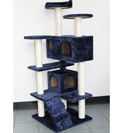 Multi Color Newest Cat Tree Condo Furniture Scratch Post Perch Post Pet House Perch Activity Trees-Dark Blue